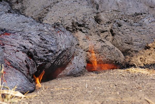 Les coulées de lave ne tuent pas, on a le temps de fuir, cependant elles détruisent tout sur leur passage. (Photo : André Laurenti)