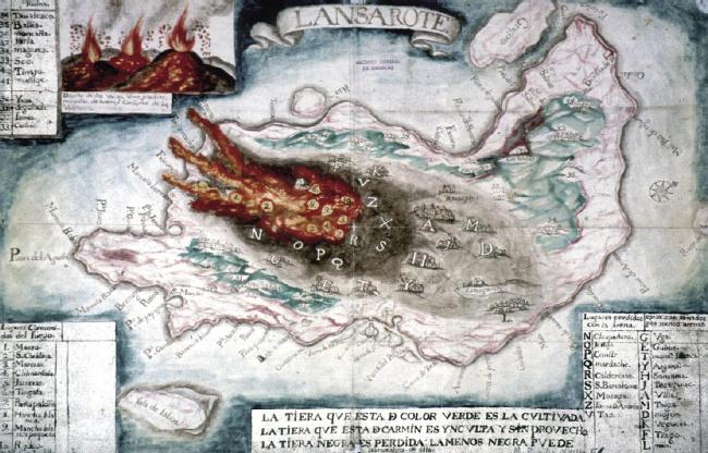 Carte de l'éruption de 1730 provenant des Archives Générales de Simances (province de Valladolid).