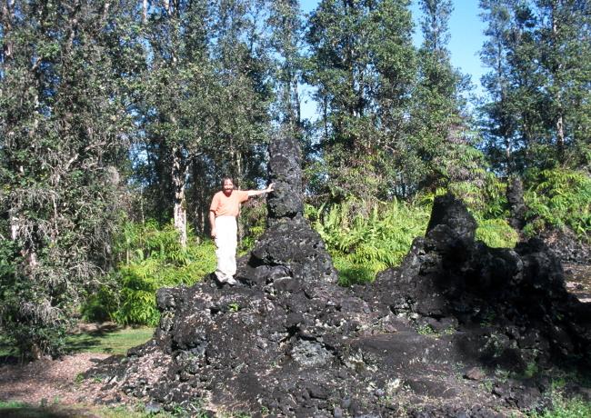 Les vestiges d'une forêt dont les arbres ont été pétrifiés, moulés dans la lave. (Photo : André Laurenti)