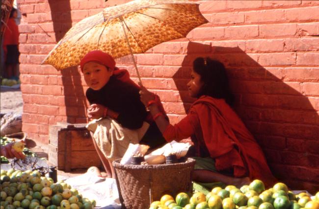 Les jeunes vendeuses d'oranges de Katmandou. (Photo : André Laurenti)