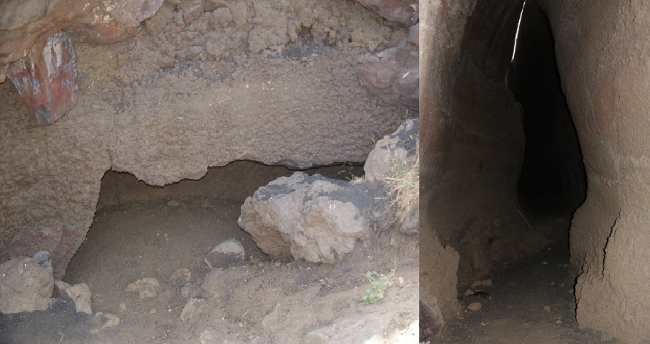 A proximité se trouve un tunnel de lave plus important avec à gauche son entrée et à droite l'intérieur. (Photos : André Laurenti)