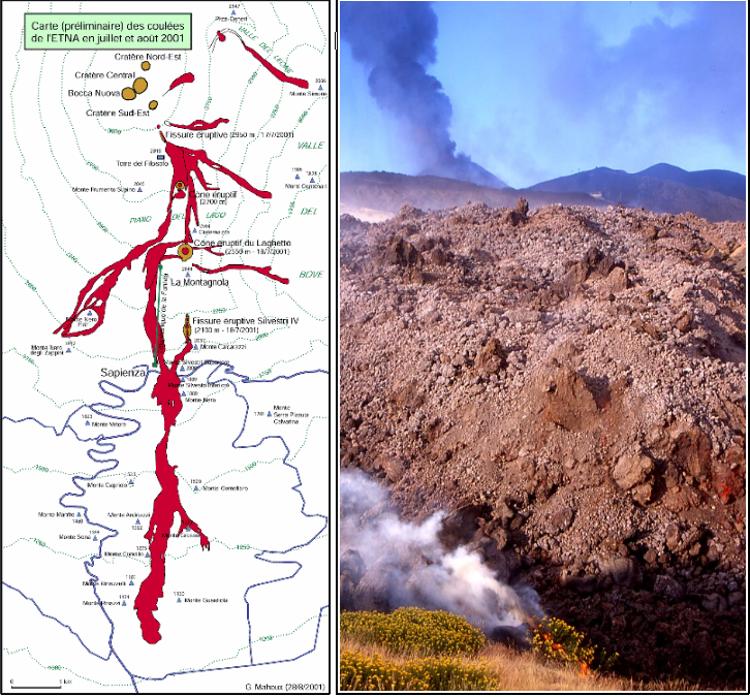 Carte des coulées de l'éruption 2001 réalisée par Gilbert Mahoux et front d'une coulée avec en arrière plan l'activité du Laghetto. (Photo : André Laurenti)